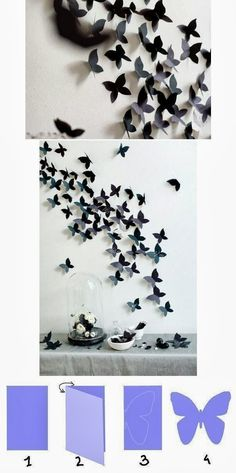 room diy paper DIY Tutorials: DIY Home Decor Tutorials- this would be beautiful for a little girls room someday! Diy Butterfly Decorations, Butterfly Wall Decor, Wall Decorations, Origami Decoration, Wall Decoration With Paper, Diy Crafts Butterfly, Paper Room Decor, Paper Wall Art, Canvas Paper