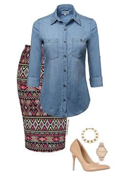 Work Spring — Outfits For Life : Print Pencil Skirt Stylish Work Outfits, Business Casual Outfits, Classy Outfits, Chic Outfits, Spring Outfits, Fashionable Outfits, Work Fashion, Modest Fashion, Women's Fashion Dresses