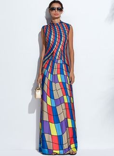 Polyester Color Block Sleeveless Maxi Casual Dresses