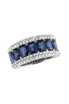 Blue Sapphire and Diamond Ring,