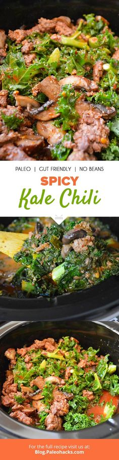 Spicy, smoky chili gets beefed up with, yep, beef, mushrooms and  kale. Made with mineral-rich bone broth, this kale chili makes for a  healthy, flavorful and balanced meal. Get the full recipe here: http://paleo.co/spicykalechili