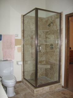 Semi Frameless Bypass shower door with a throughtheglass towel