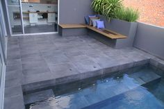Here at Mobicast we have different types of pavers - we have the largest range in the Southern Cape. With branches in George, Mossel Bay and Harkerville, we are ideally situated to supply you wherever you are. Indoor Outdoor Living, Outdoor Areas, Outdoor Decor, Swimming Pool Designs, Swimming Pools, Backyard Beach, Backyard Ideas, Garden Ideas, Pool Paving