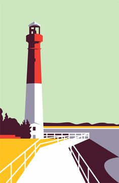 Brave the Woods-Barnegat Lighthouse Art And Illustration, Landscape Illustration, Illustrations And Posters, Graphic Design Illustration, Graphic Art, City Poster, Barnegat Lighthouse, Long Beach Island, Arte Pop