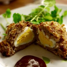 Oven baked Scotch egg recipe with bacon and chorizo.