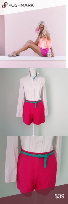 Kors hot pink shorts These shorts are a part of the high end line produced by Michael Kors.  Made in Italy.  2 front pockets. In excellent condition. Label says size 8, but they fit more like a size 4. Listing as such. KORS Michael Kors Shorts