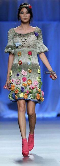 Grey Dress with Flowers