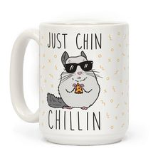 "Just Chin-Chillin - Just chill with this cute chinchilla design featuring the text ""Just Chin-Chillin"" with an illustration of a chinchilla eating pizza. Perfect for a chill day, lazy day, animal puns, animal gifts, chill jokes, love pizza, and chinchillas!"