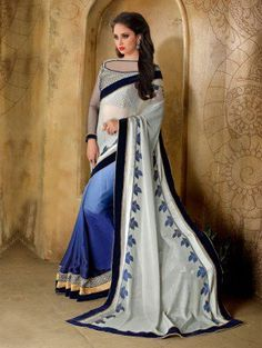 White and Blue Silk Saree with Lace Work