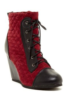 Leuven Alexander Nerine Lace-Up Wedge Boot -- quilted, steampunk, victorian!