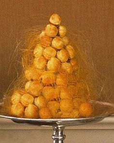 Croquembouche - chocolate filling, Make this beautiful classic French choux pastry dessert. Martha Stewart will tell you how. Croquembouche Recipe, Just Desserts, Dessert Recipes, Homemade Desserts, Classic French Desserts, French Recipes, Best Christmas Desserts, Christmas Time, Martha Stewart Recipes