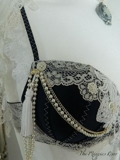 Lushious Navy Satin and White Lace Bra - Vintage, Steampunk, Dance, Burlesque, Fusion Belly Dance. £46.50, via Etsy.