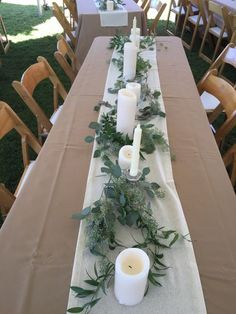 long table style with mixed bottle bud vases wedding table decor Organic Garden Centerpiece — Rose Of Sharon Floral Design Studio Outdoor Wedding Decorations, Wedding Table Centerpieces, Wedding Flower Arrangements, Flower Centerpieces, Centerpiece Ideas, Buffet Wedding, Outdoor Weddings, Long Table Wedding, Wedding Church