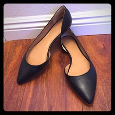 New Leather J. Crew D'Orsay Pointed Flats 9.5 Brand new pair of black leather D'Orsay flats from J. Crew in a size 9.5! I have worn these around my house a few times to get a feel for them, but unfortunately they pinch my feet. Perfect condition and never worn outside! There is a small scuff on the inner heel of one shoe that I noticed after purchase, but it is very minimal. Reasonable offers will be considered! J. Crew Shoes Flats & Loafers