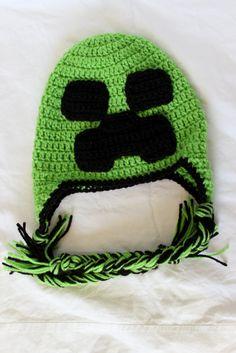 Crochet Minecraft Earflap Hat Size Child by KrazyKrochetin