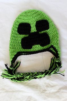 Crochet Minecraft Earflap Hat Size Child by KrazyKrochetin