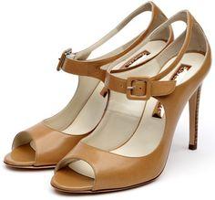 Rupert Sanderson Camel Leather Mary-Jane Peep Toes