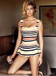 #Vogue #kate #upton in stripes #dress in #orange #gelb #blue