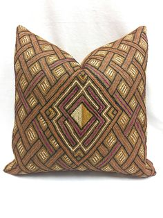 Kuba cloth Pillow, Rust color tribal design, Vegan suede back, African home decor, Global style, Jungalow-style pillow by MorrisseyFabric on Etsy