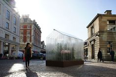 LEGO greenhouse designed by Sebastian Bergne    A greenhouse built out of LEGO bricks with plants and vegetables was installed at Covent Garden during London Design Week 2011.