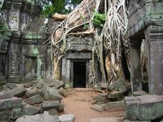 Ta Prohm which is one of over 140 temples in the Angkor Complex of Siem Reap, Cambodia