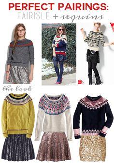 Perfect Pairings: Fairisle Sweaters + Sequins // Get the Look >> http://lapetitefashionista.blogspot.com/2013/11/perfect-pairings-fairisle-sequins.html