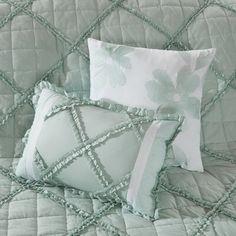 August Grove Spiritwood Lake Comforter Set | Birch Lane Queen Comforter Sets, Bedding Sets, Weighted Comforter, Aqua Bedding, Floral Comforter, Ruffle Pillow, European Pillows, Cotton Bedding, Duvet Cover Sets