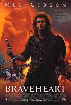 Brave Heart, 1995. Es una película épica basada en la vida de William Wallace, un héroe nacional escocés que participó en la Primera Guerra de Independencia de Escocia.  Mel Gibson dirigió, produjo y protagonizó la película.