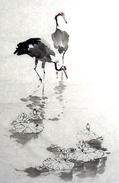 Red-crowned cranes by ninedocs on DeviantArt Japanese Ink Painting, Sumi E Painting, Japanese Watercolor, Japan Painting, Chinese Painting, Watercolor And Ink, Watercolor Paintings, Watercolor Japan, Chinese Landscape Painting