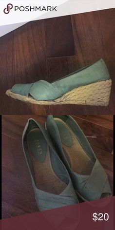 Chantung wedges- Cecilia 8.5 B, lightly worn. Beautiful green shade wig open toe and wedge Lauren Ralph Lauren Shoes Wedges