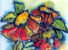 Zinnia Splash Painting by Anne Duke
