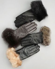 Toscana Sheepskin Trim Leather Gloves - Cashmere Lined