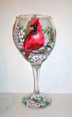 La main peint vin verres oiseaux peints par SharonsCustomArtwork