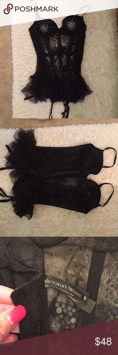 Sexy black Victoria secret lingerie Black lingerie with diamonds . 34b corset fit and underwire . Super sexy on! Victoria's Secret Intimates & Sleepwear Chemises & Slips
