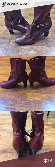 Studio Works Red Bootie Red bootie. Rounded toe. 3 inch heel. Decorative buckle. Super cute!! Minimal wear, great condition. Studio Works  Shoes Ankle Boots & Booties