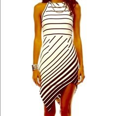 Summer Nights!Sexy Cute Asymmetrical Dress ✨SALE✨Brand New For Summer! This Sexy Asymmetrical Black & White Striped Dress Is Simply Stunning! A Real Knockout!! Tea n Cup Dresses Asymmetrical