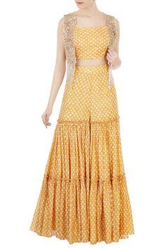 Shop Shruti Ranka - Yellow printed crop top with sharara pants & embellished jacket Latest Collection Available at Aza Fashions