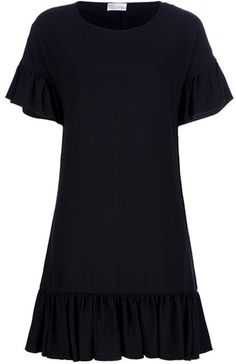Red Valentino Frilled Trim Dress in Black