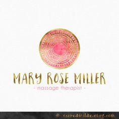 Rose Pink Mandala Logo Design Pink and Gold by SacredWilde Simple Business Cards, Business Card Logo, Identity Design, Logo Design, Brand Identity, Spiritual Logo, Tribal Logo, Lotus Logo, Spa Logo
