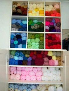 Organized crochet shelf