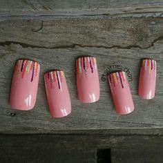 Pink Waterfall Nail Art.
