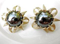 Vintage Sunflower Clip On Earrings // Gold Silver by JackpotJen, $18.00