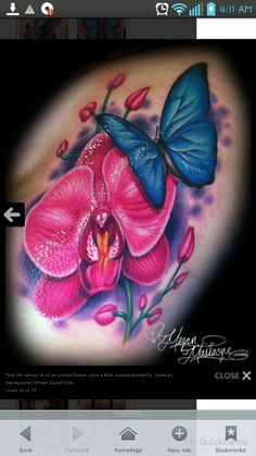 Pink orchid and blue butterfly tattoo by Megan Massacre