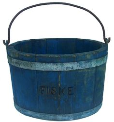 Late 19th century wooden Water Bucket with the original blue paint, stamp Fiske