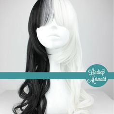 BLACK And WHITE Half and Half Lolita Cosplay Wig. $84.00, via Etsy.