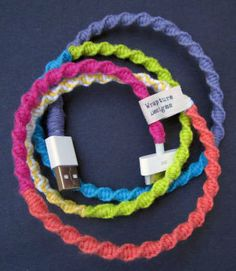Black Friday Etsy - Yarn Wrapped iPod / iPhone USB Cable Charger 'Rainbow Connection' By Wrapture Designs.