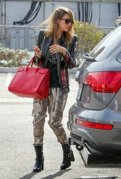 patterned pants with moto styling