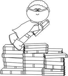 Black line & full color. Commercial use OK. Super Hero Activities, Superhero Classroom, Superhero Party, Super Hero Day, Superhero Clipart, Book Clip Art, Reading Club, Library Activities, Summer Reading Program