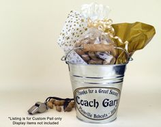 Personalized Small Pail Coach Gift Appreciation by Capcatchers