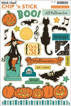 October Afternoon - Witch Hazel Collection - Halloween - Chip 'n Stick - Self Adhesive Chipboard - Variety Halloween Doodle, Halloween Drawings, Halloween Clipart, Halloween Stickers, Vintage Halloween, Halloween Crafts, Imprimibles Halloween, Manualidades Halloween, Printable Stickers